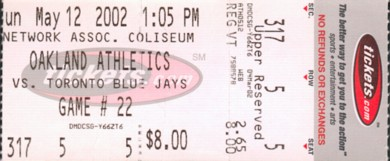 A's vs. Blue Jays ticket