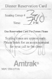 Amtrak dinner reservation slip