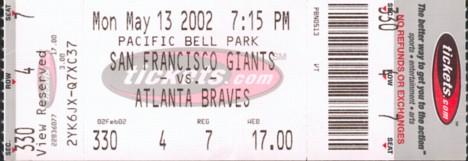 Giants vs. Braves ticket