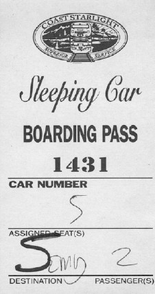 Coast Starlight boarding pass